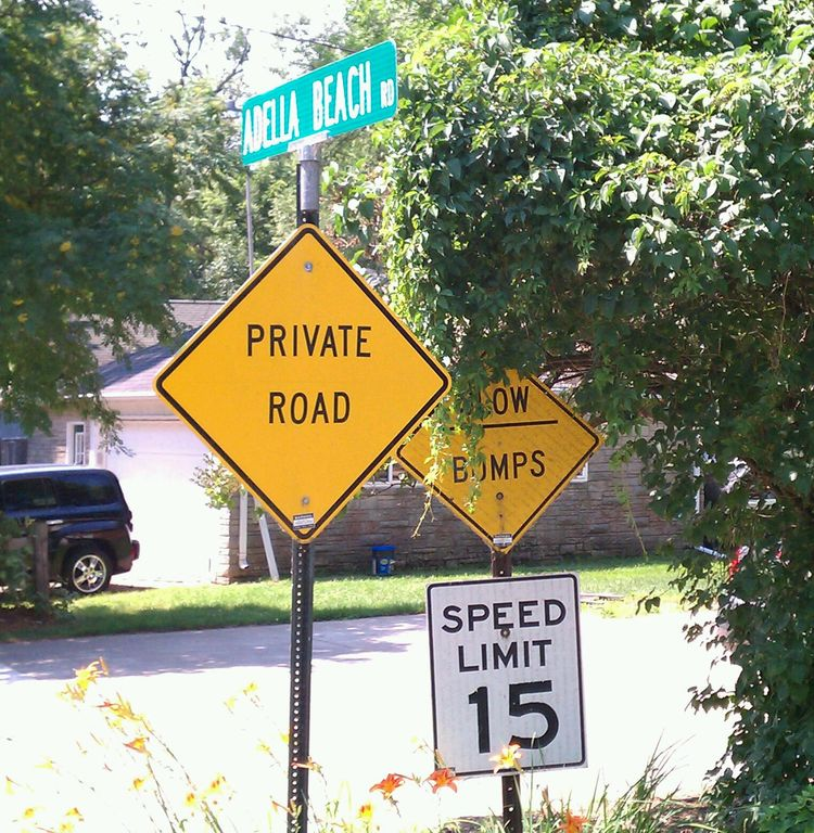 Yes, it is a private road owned by the homeowners