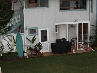 Hanalei house photo - Outdoor shower, indoor laundry and covered patio with gas BBQ