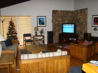 Tahoe Keys house photo - 42in Flat Screen TV and Fireplace.