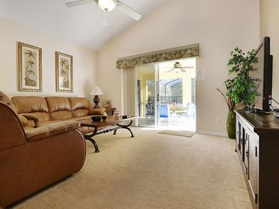 SPACIOUS       2400 SQ FT         SOUTH FACING HOME POOL & SPA, WIFI - Family Room out to Pool 2014 Photo 46' TV