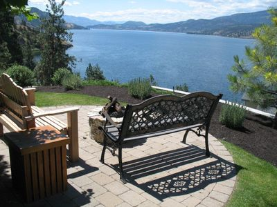 Unbelievable view of Okanagan Lake from the gas firepit patio.