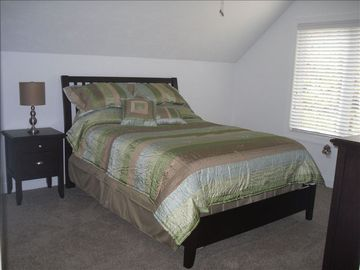 2nd master suite with queen bed has private bath and view of Laurel Highlands