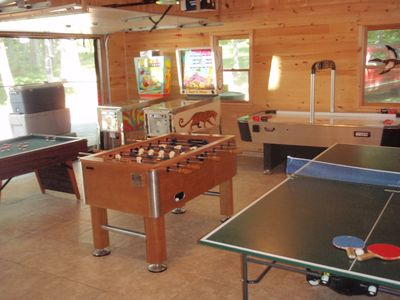Game room featuring pinball, air hockey,foosball,ping pong,bumper pool
