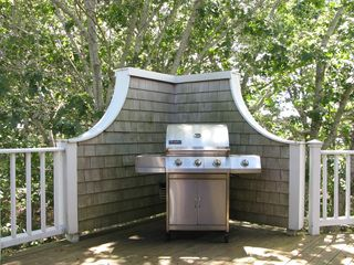 Wellfleet house photo - Gas grill on deck just outside the dining area makes grilling easy.