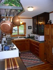 Lake Willoughby cottage photo - Complete working kitchen even wine glasses