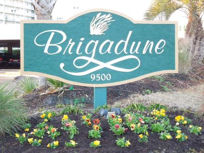 Main entrance sign of Brigadune. Grounds are beautiully landscaped year round.