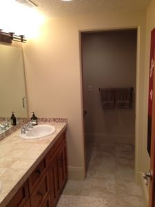 1 of 2 Basement Bathrooms, Double Sink, Seperate door to shower and toilet.