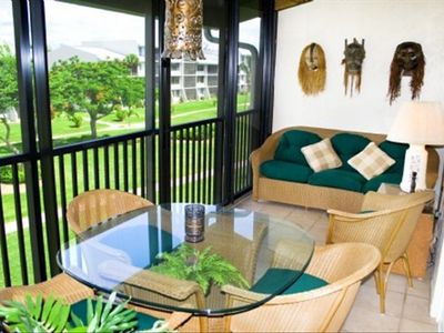 Have Breakfast in Beautifully Furnished Lanai Overlooking Courtyard