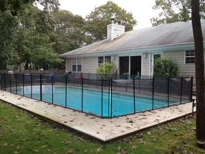 Childproof proctective fence, very safe plus entire pool area is fenced in.