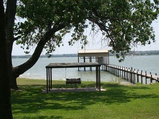 Eagle Mountain Lake house photo - View from front porch of gazebo with swing, & dock