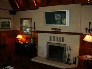 Lake Arrowhead cabin photo - Enjoy a roaring fire while watching TV