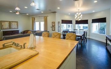 Open-Designed Living, Dining Areas and Kitchen for a fun reunion or get-together