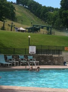 Clock Tower pool and spa at the base of mountain are heated and fun for all