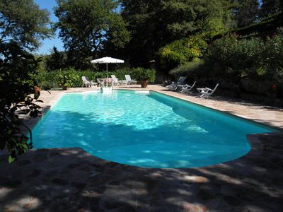 Swimming pool, 7 by 13 metres, with natural shade and panoramic views