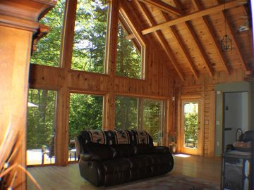 Sebago Lake house rental - Those windows are magnificent! It's like living outdoors!