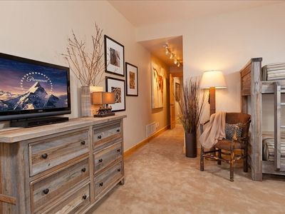 guest bdrm suite, reclaimed snowfence dresser, TV&DVD, opens to lower patio