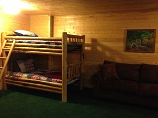 Heber City cabin photo - Downstairs Main Area (Bunk Bed & Pull-out Queen Sofa)