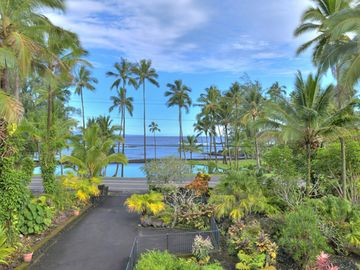 Hilo house rental - View from deck looking at Richardson's Beach Park and koi pond.