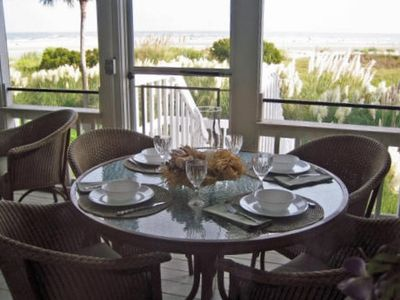 oceanfront dining on the screened porch