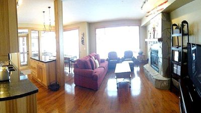 Stone fireplace, leather arm chairs, full sofa bed, 51'plazma HD TV, DVD, stereo