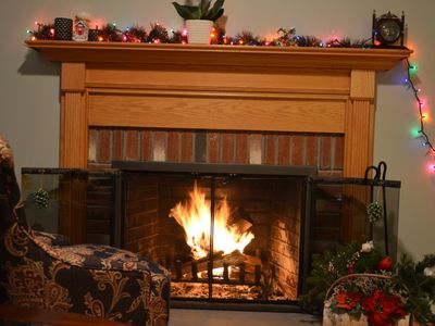 Set a warm and cozy atmosphere with a wood fireplace