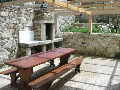Barbecue, with large farmhouse dining table
