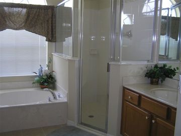 Garden tub, walk in shower. Water closet not shown