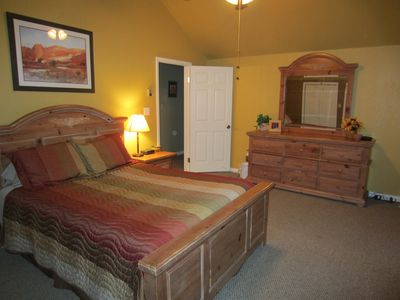 Guest Bedroom - large and comfy queen bed, private deck, big mountain views