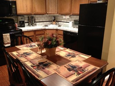 Fully equipped kitchen has seating for 6 persons