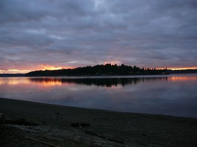 Lakebay cottage rental - View of Herron Island from ferry dock