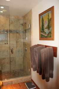 Lodge Master Suite with large shower with bench, shower s...