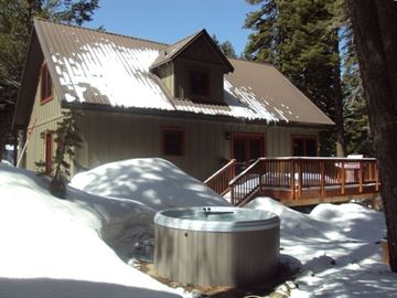 Chambers Lodge cabin rental - New luxury Hot Tub and new deck for outdoor summer BBQs and relaxing...