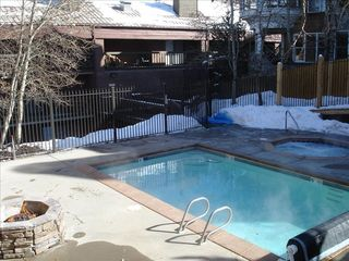 Snow Blaze condo photo - View pool area with new Jacuzzi, heated pool