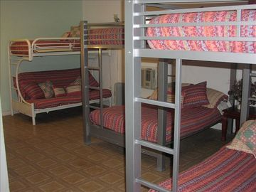Full-size bunk beds, top and bottom