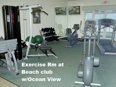 Excerise rm at beach club, his & her large dressing rm.  Excerse with ocean view