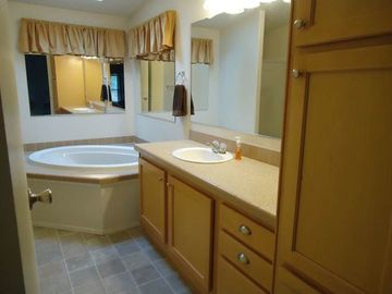 Master bedroom on-suite has a tub and separate shower stall