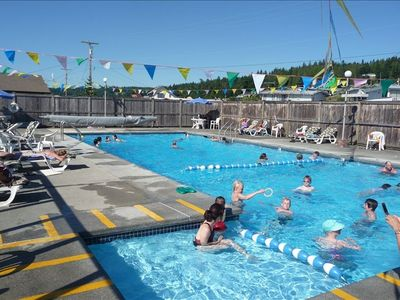 The community pool is open in the summer season.