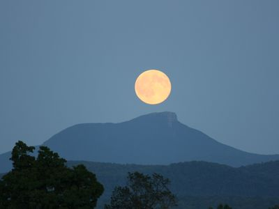Full moons to die for - views of Camels Hump across the lake.