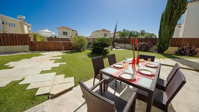 Ayia Napa villa rental - Gorgeous open space outside with dining area