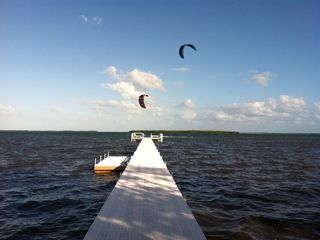 Big Pine Key house photo - GUESTS KITE BOARDING FROM THE DOCK