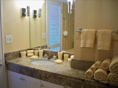 Marble Bathroom Countertops & Walls, Soft Towels in all Sizes to Pamper Yourself