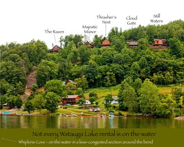 Few Watauga Lake rental homes are actually on the water. Whipkins Cove is!