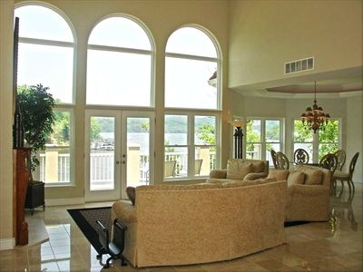 Large Upstairs Family Room with Big Windows for Great Lake Views