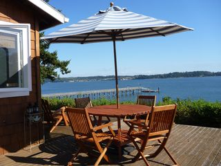 Oak Harbor house photo - Expansive deck to enjoy dining inside or out.