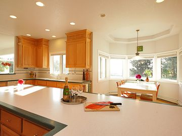 Spacious gourmet kitchen! Enough counter space & sinks for multiple cooks