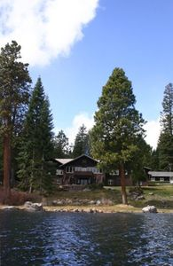 View of Point Comfort Lodge from the lake