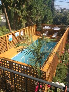 Our above ground pool with deck