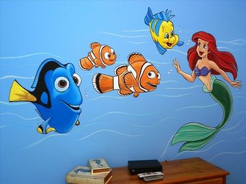 Professional artist themed kid's bedroom with Nemo and Ariel.