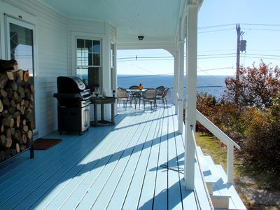 Covered porch overlooking Cape Cod Bay