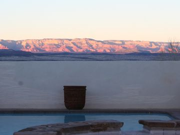 Sedona house rental - Your view of Sedona's Red Rocks from our salt water spa.